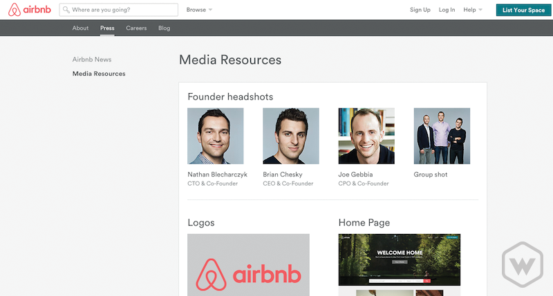 Airbnb media resources