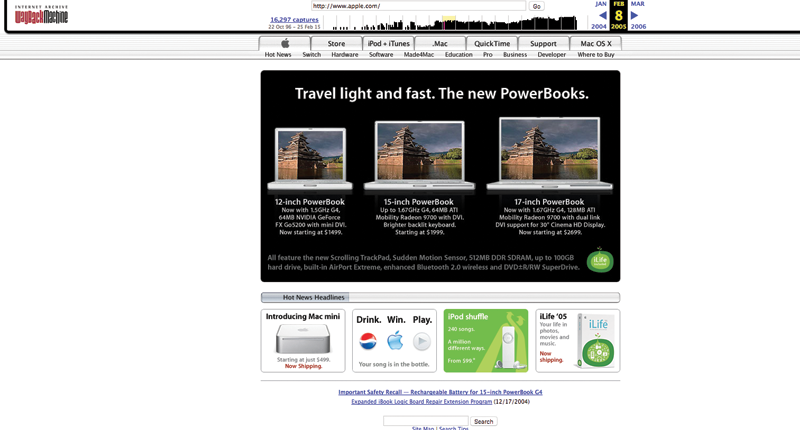 Apple's website in 2005