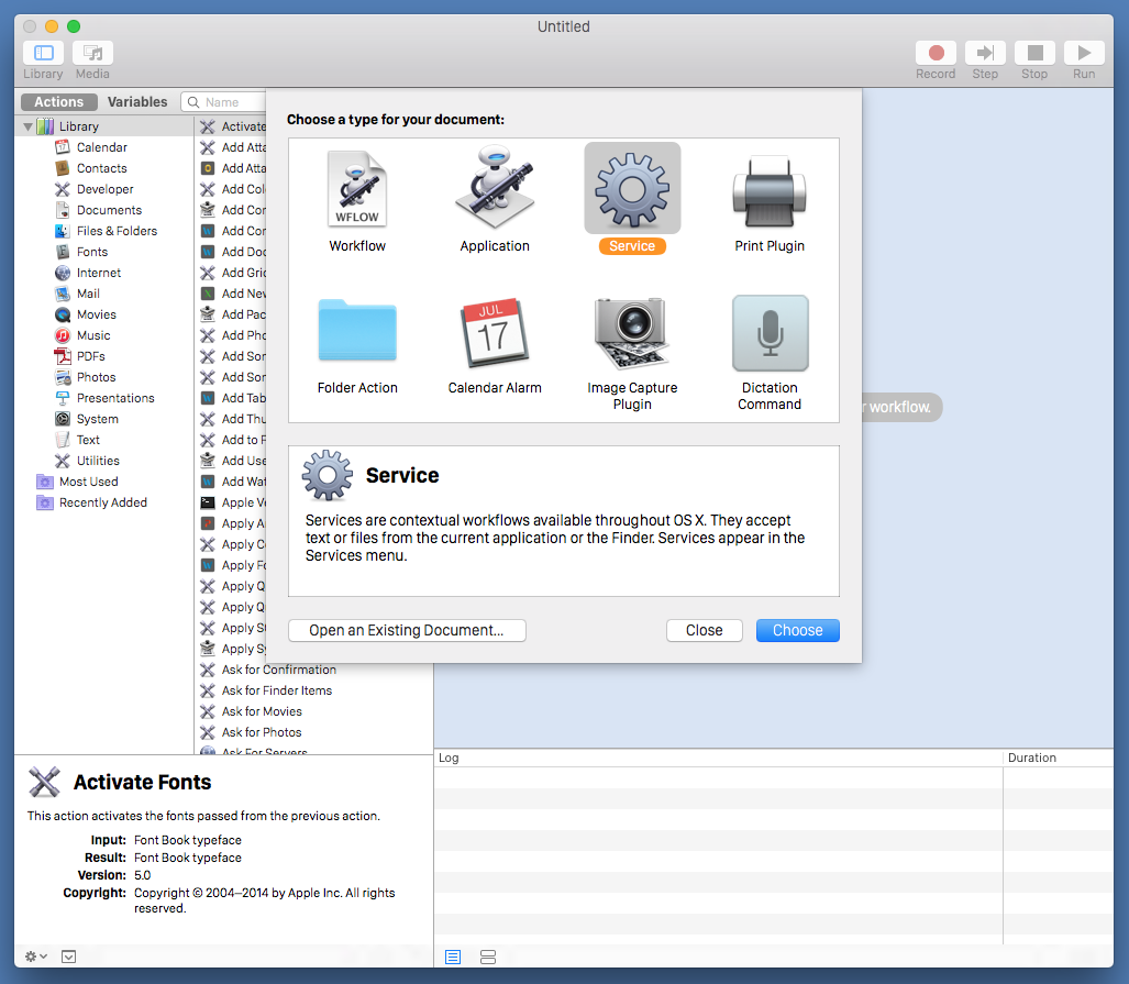 Create a service upon launching Automator