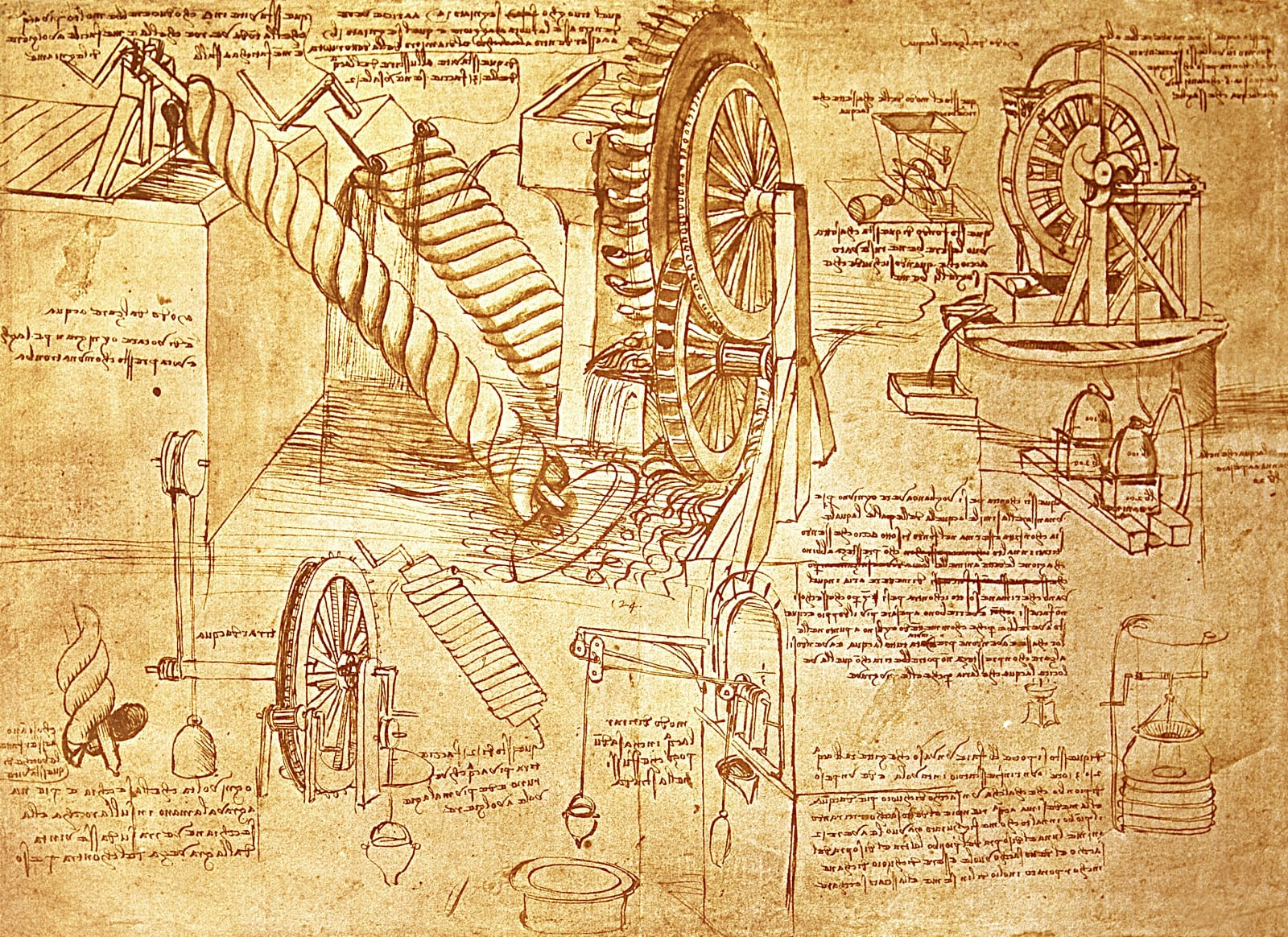 Engineering drawings from da Vinci's journals