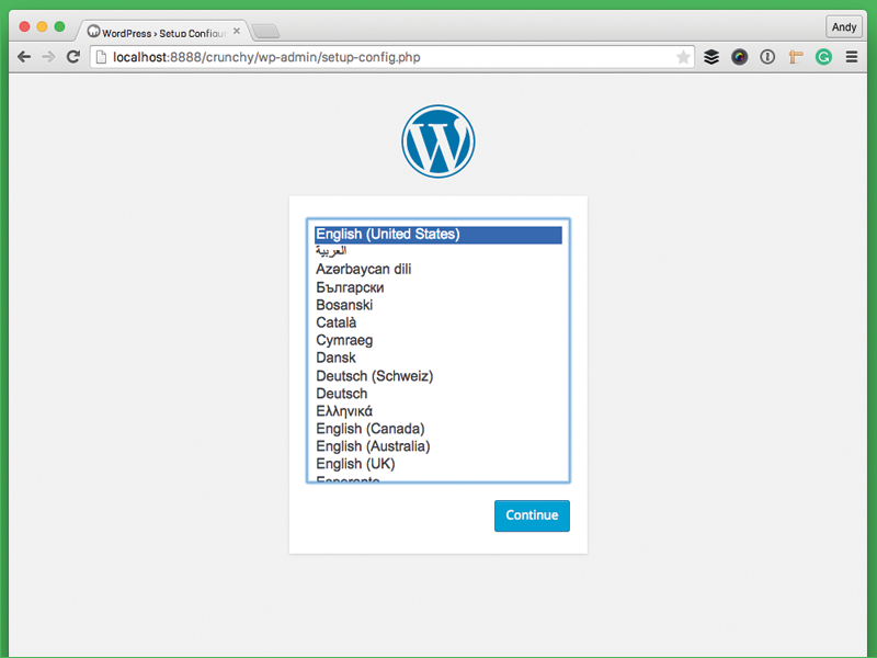 Installing WordPress locally prompts the same Language selection step as before.