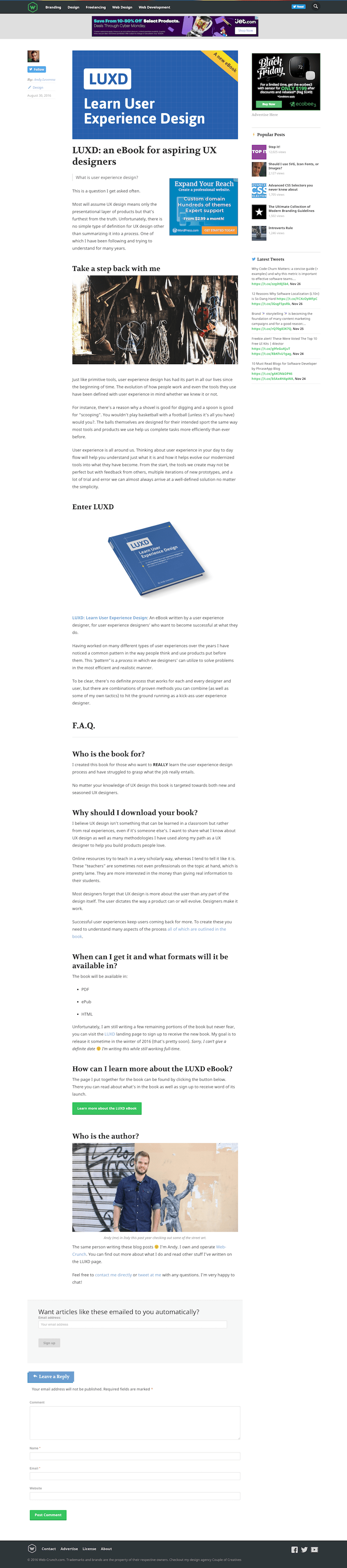 screenshot of an older version of web-crunch.com article page
