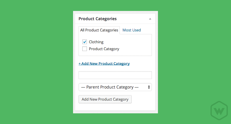 A product category is very similar to the default WordPress category options when adding a new blog post. The difference is that this option pertains only to the products within the eCommerce Marketplace