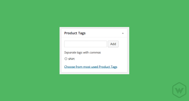 A product tag section is extremely similar to the basic WordPress tagging option only this applies to only products within your eCommerce market