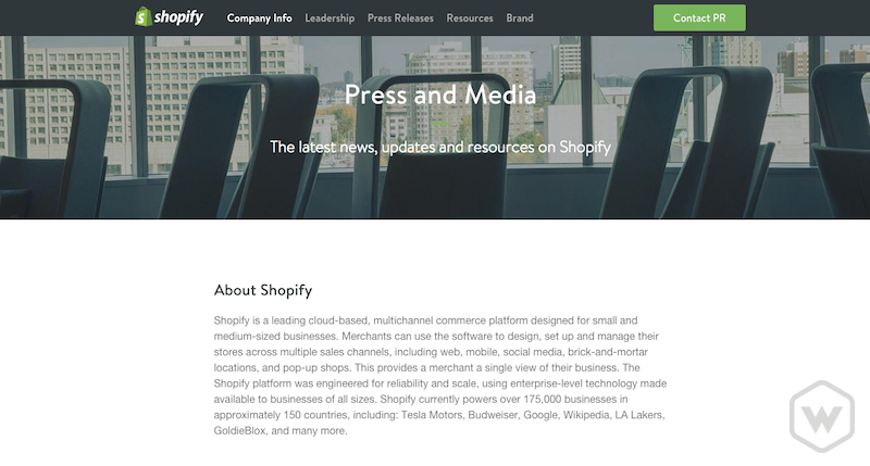 Shopify press and media