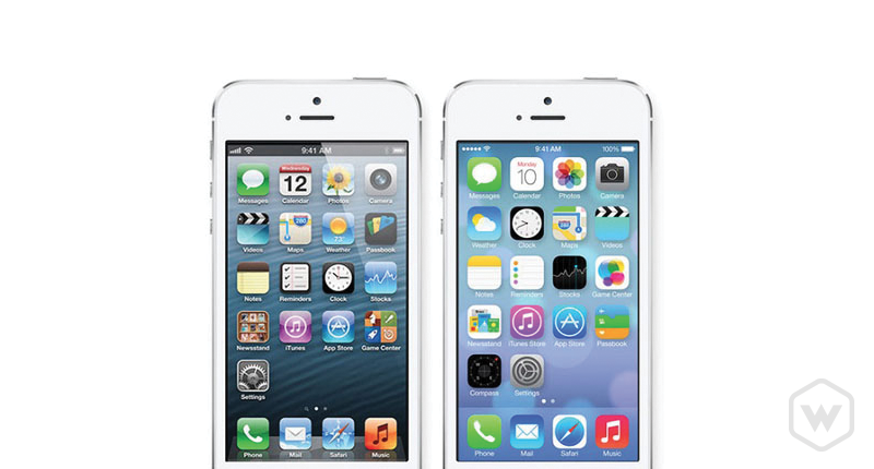 two different iPhones showing different designs. Skeuomorphism and flat styles