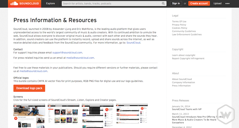 Soundcloud press information and resources