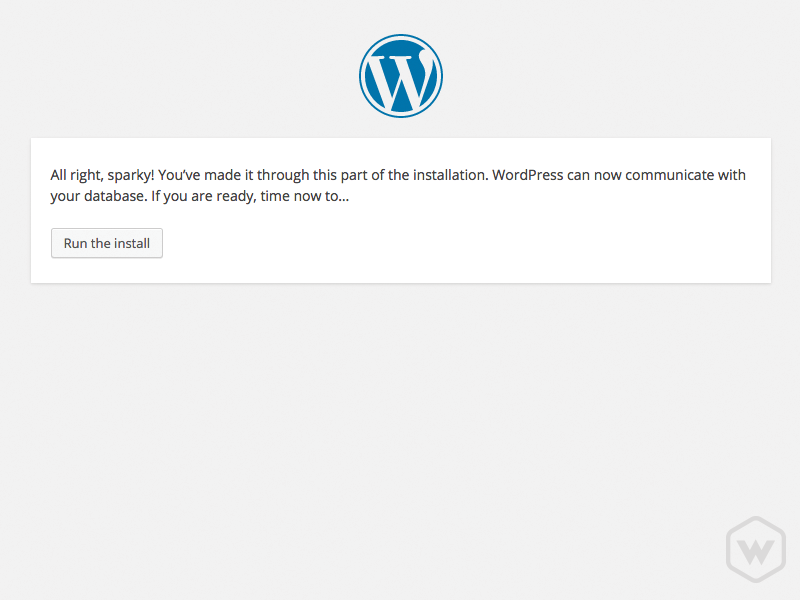 succesfull 5-minute install of wordpress