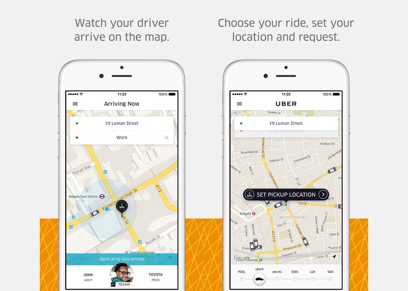 screenshots of uber mobile application