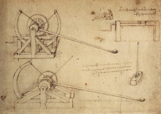 One of the many war machines invented by Leonardo