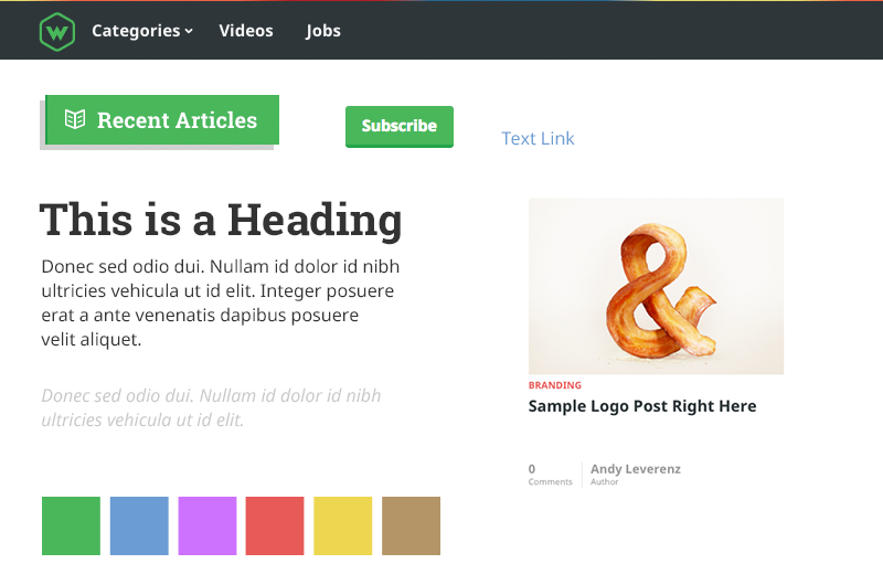 Screenshot of web-crunch style guide design