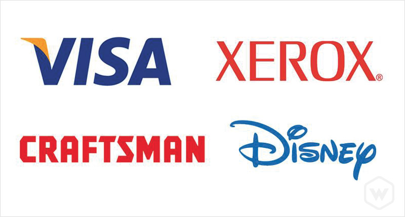 Popular wordmarks. Logos property of Visa, Disney, Craftsman, and Xerox